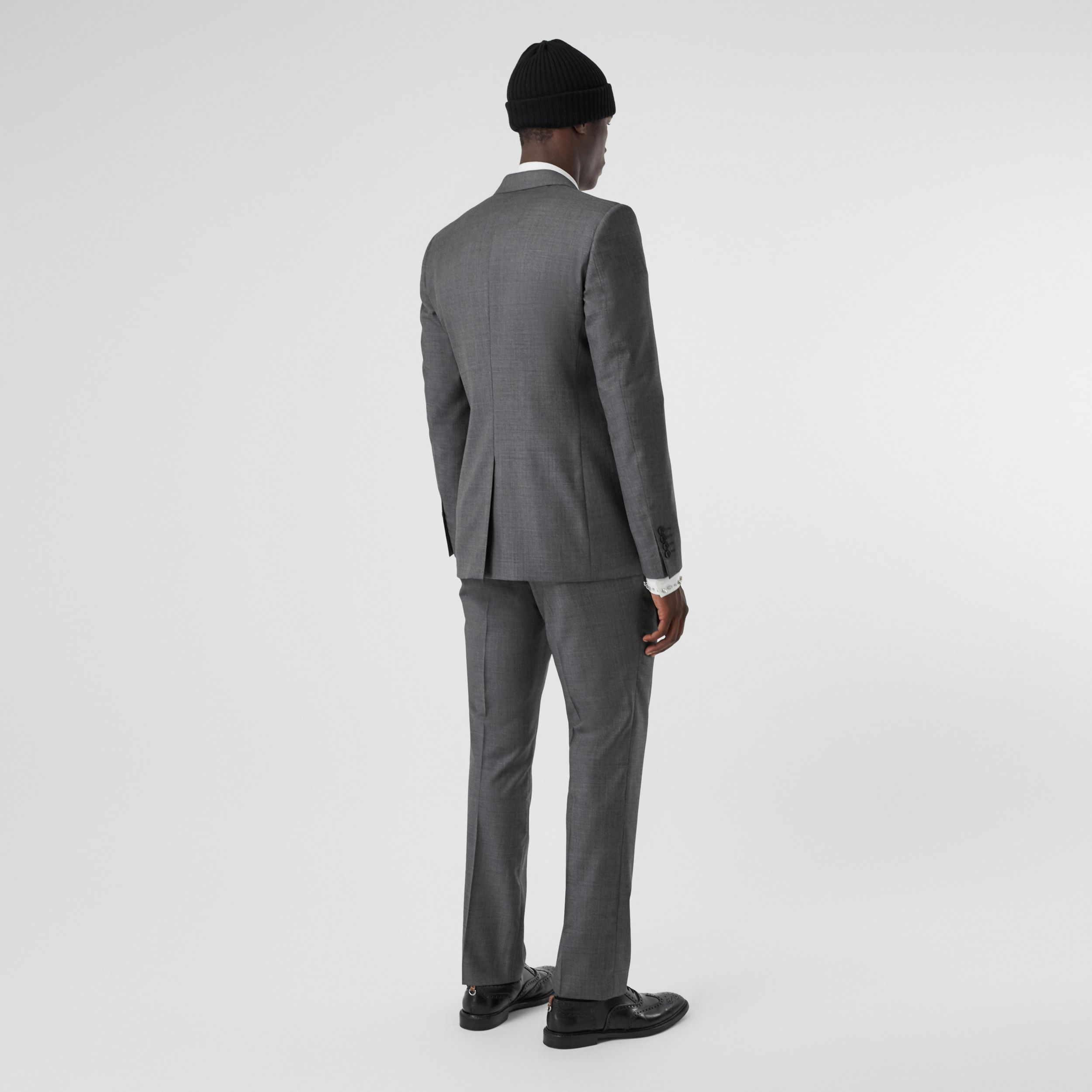 Classic Fit Sharkskin Wool Suit in Mid Grey Melange - Men | Burberry - 3