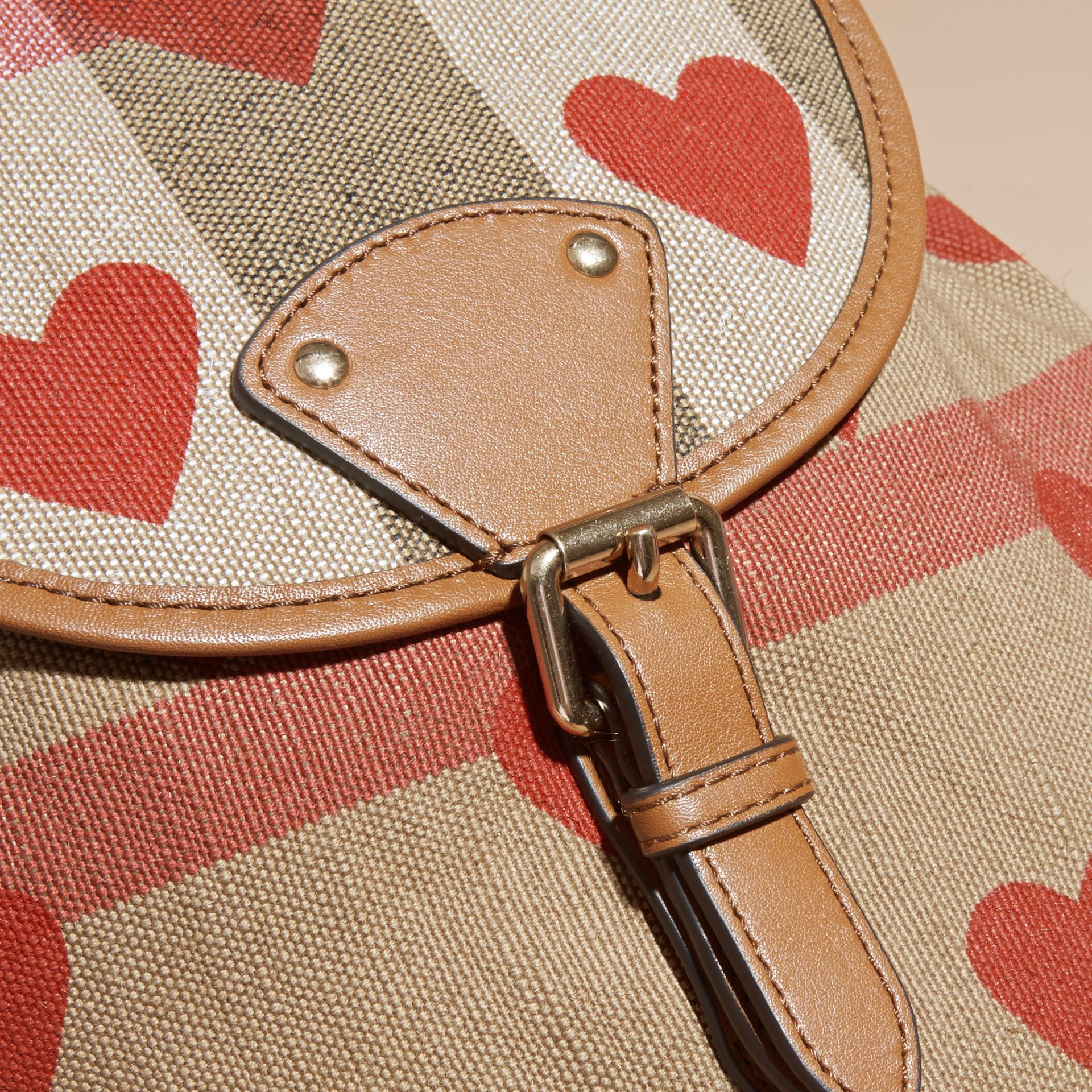 Parade red/tan Heart Print Canvas Check Backpack with Leather Trim Parade Red/tan - gallery image 2