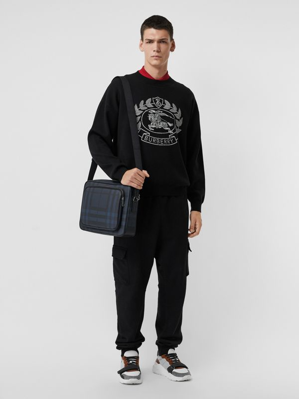 London Check Messenger Bag in Navy/black - Men | Burberry - cell image 3