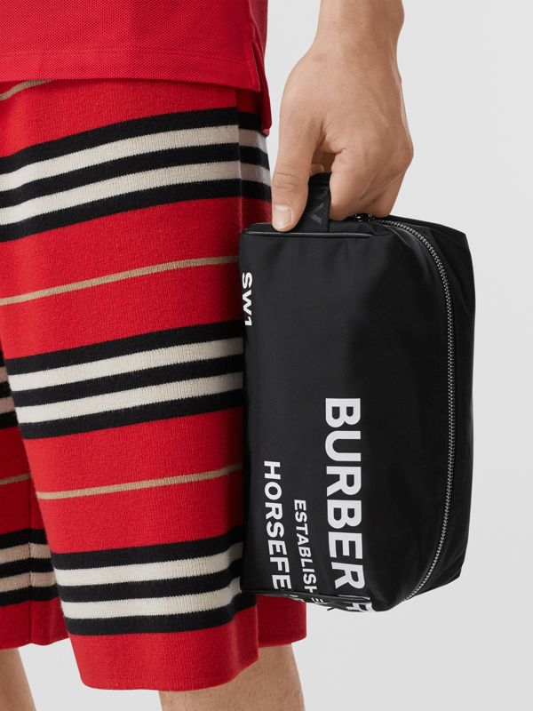 Horseferry Print Nylon Travel Pouch in Black/white | Burberry United Kingdom - cell image 2