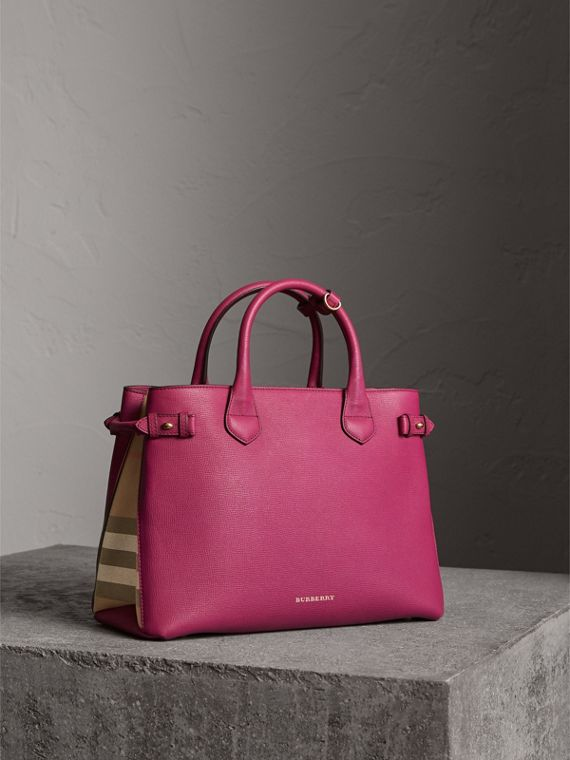 The Medium Banner in Leather and House Check in Brilliant Fuchsia - Women | Burberry