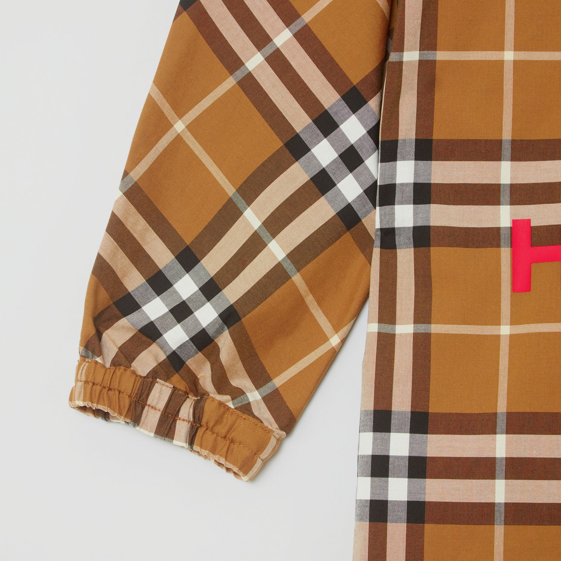 Horseferry Print Check Cotton Shirt Dress in Warm Walnut | Burberry United Kingdom - gallery image 4