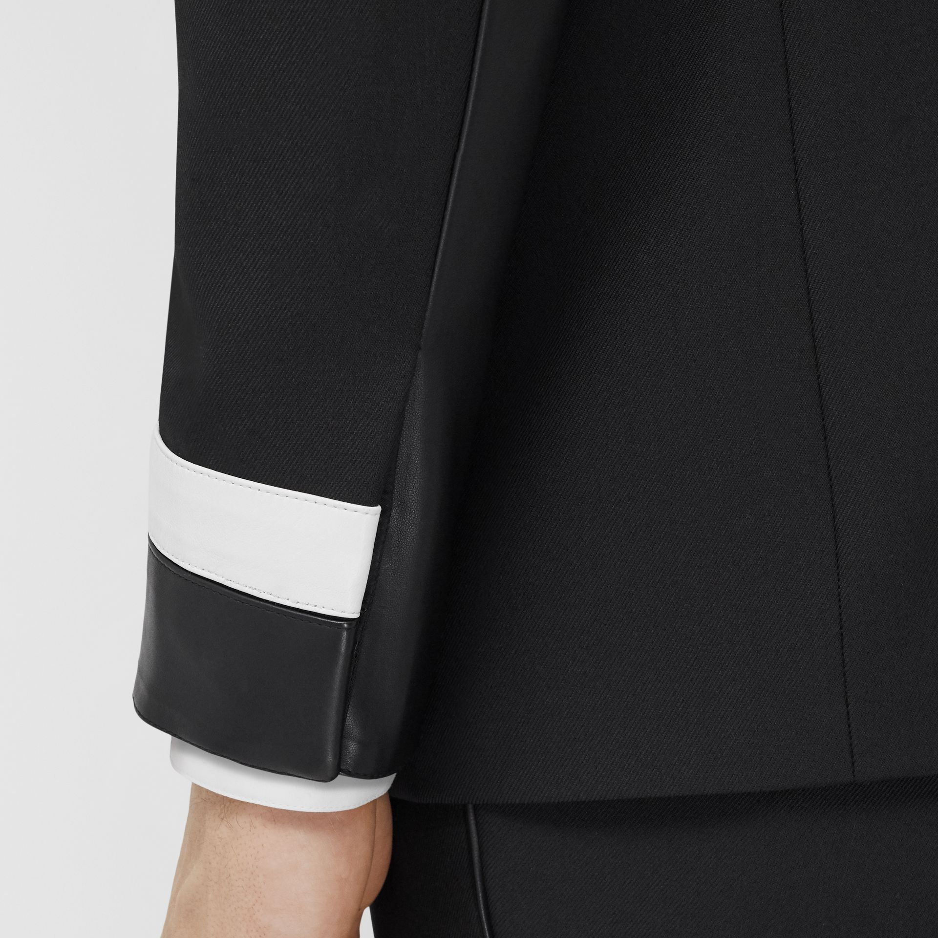 Classic Fit Lambskin Detail Wool Tailored Jacket in Black | Burberry United Kingdom - gallery image 4
