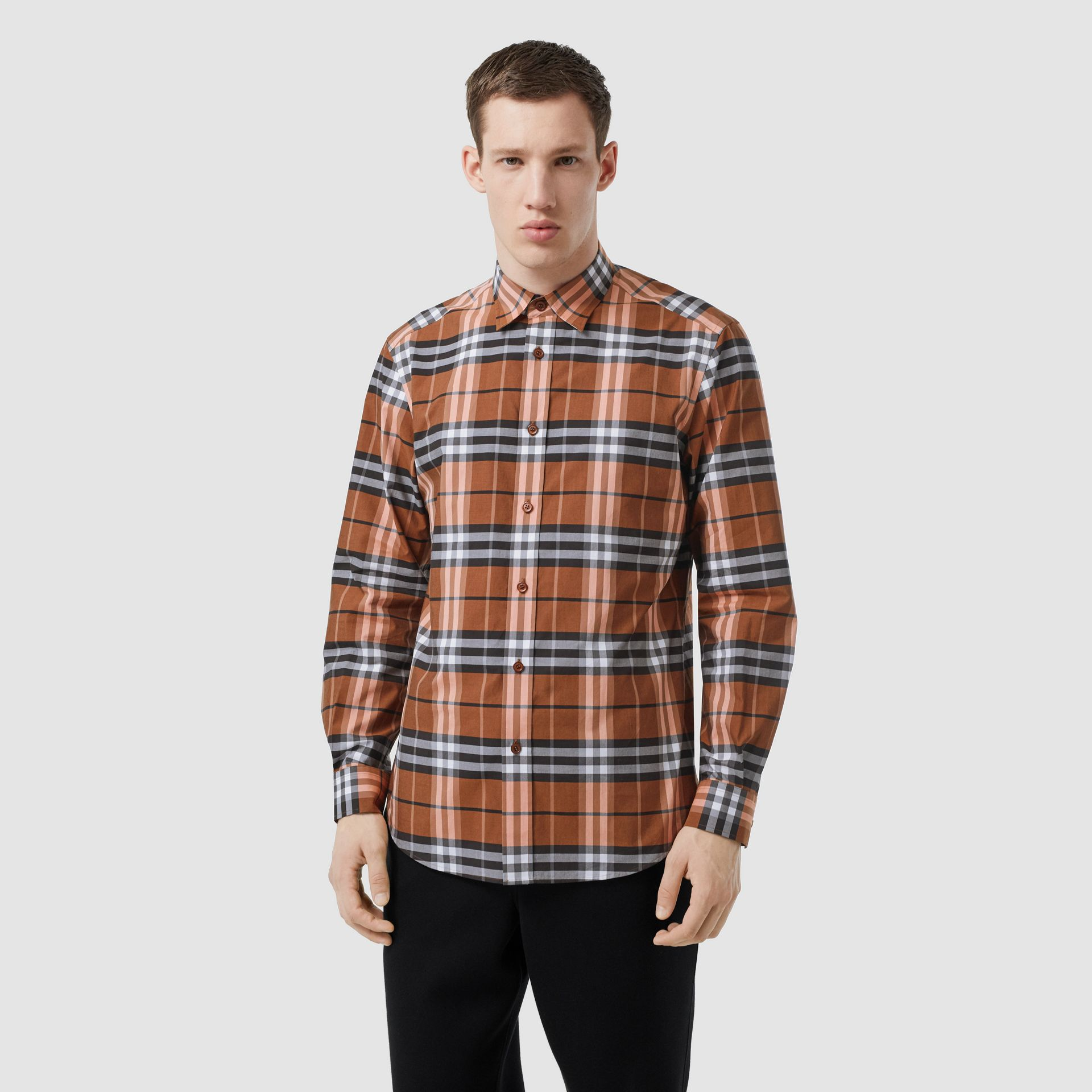 Vintage Check Cotton Poplin Shirt in Clementine - Men | Burberry Australia - gallery image 5