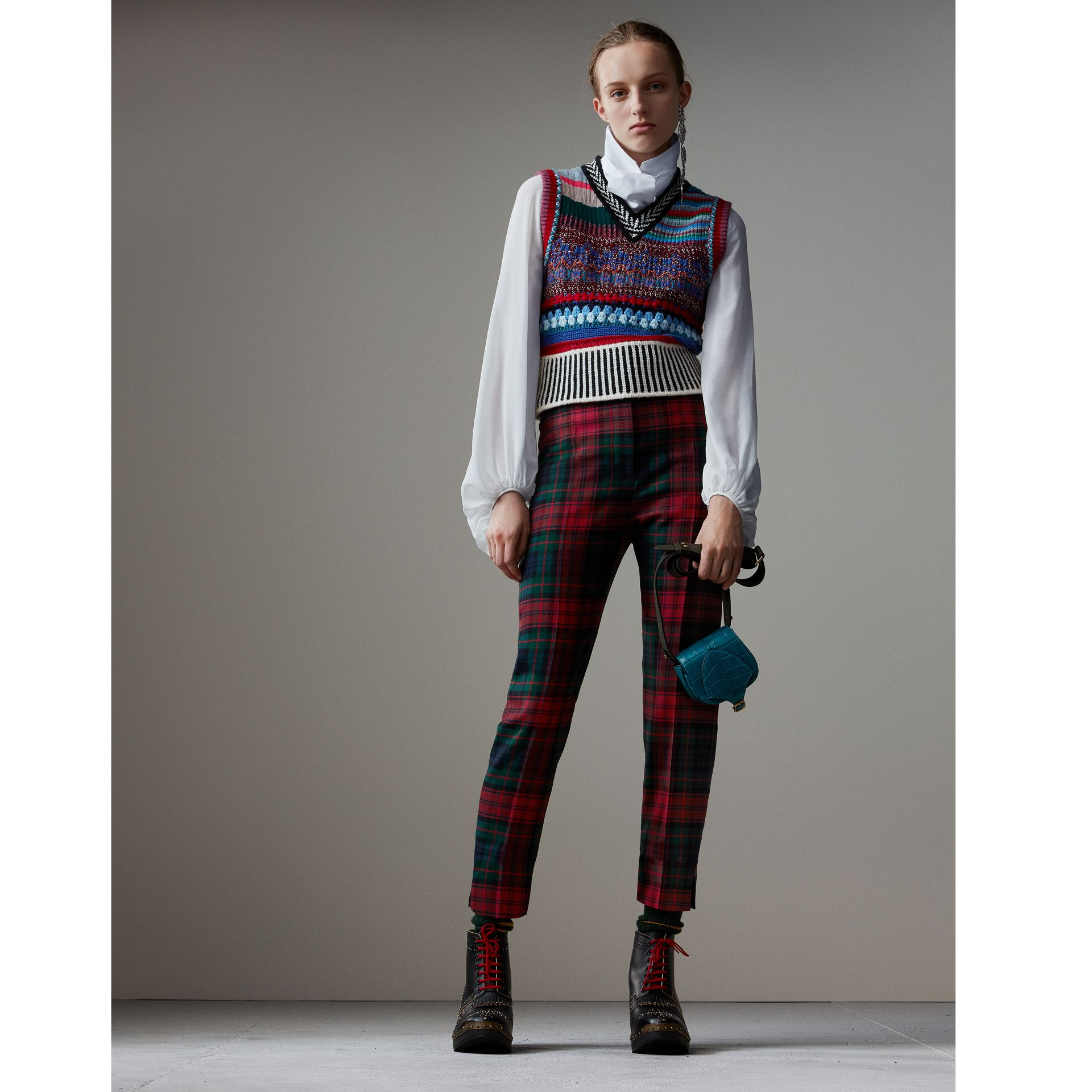 Tartan Wool High-waisted Trousers in Bright Red - Women | Burberry - gallery image 1