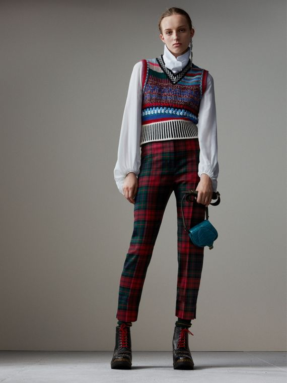 Tartan Wool High-waisted Trousers in Bright Red