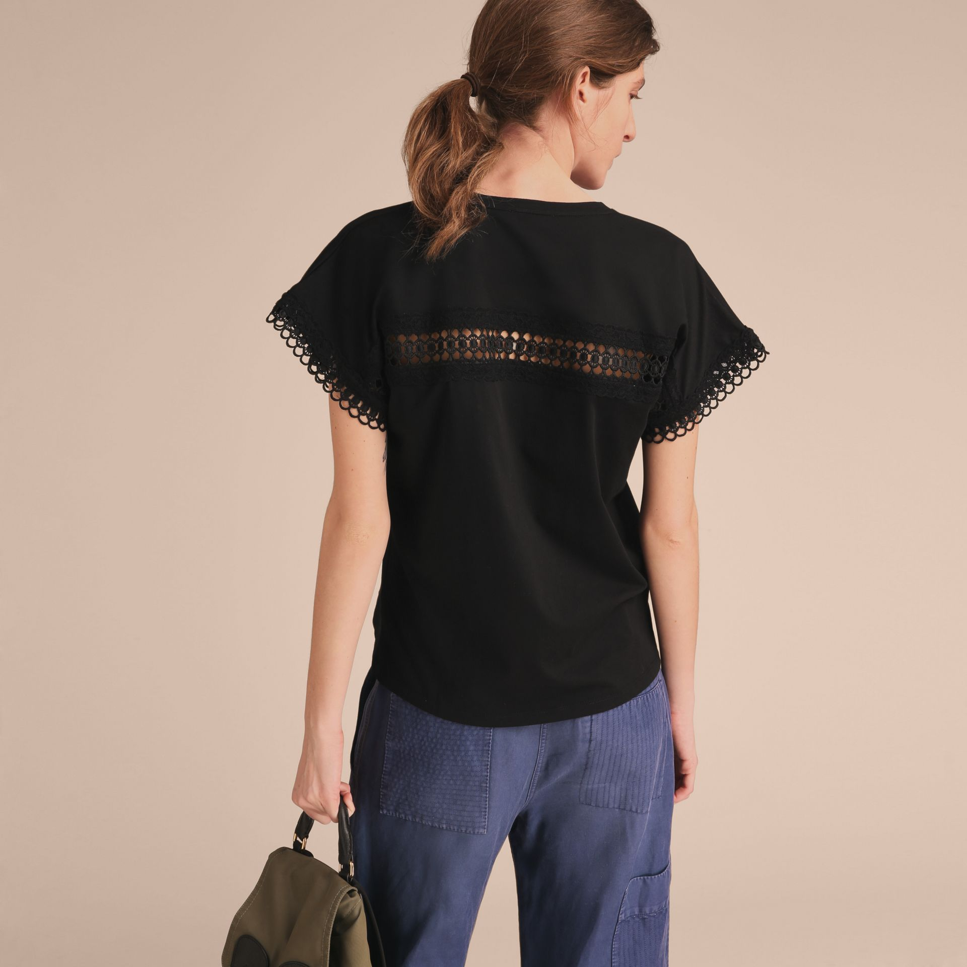 Lace Detail Cotton T-shirt Black - gallery image 3
