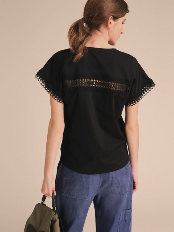 Lace Detail Cotton T-shirt Black - cell image 2