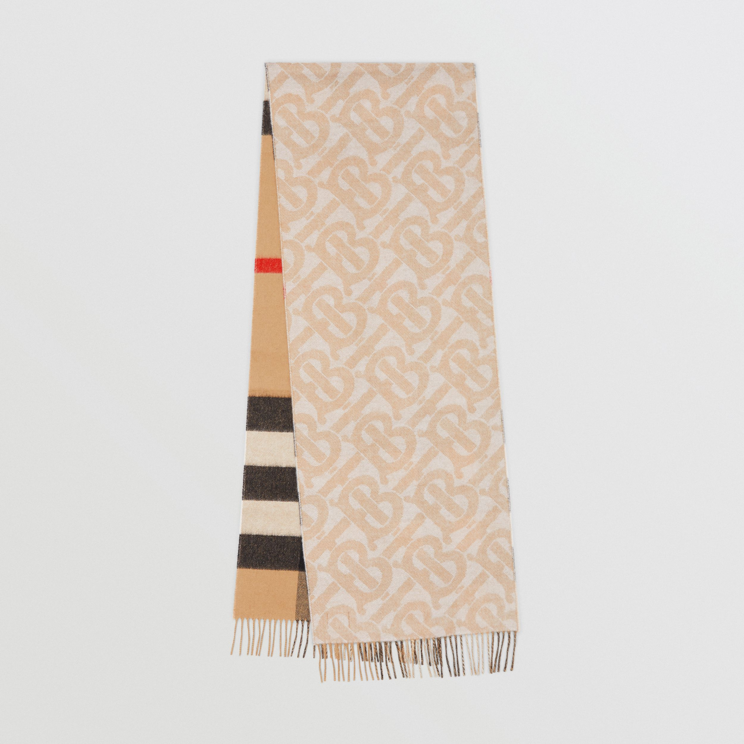 Reversible Check and Monogram Cashmere Scarf in Alabaster - Women | Burberry Australia - 1