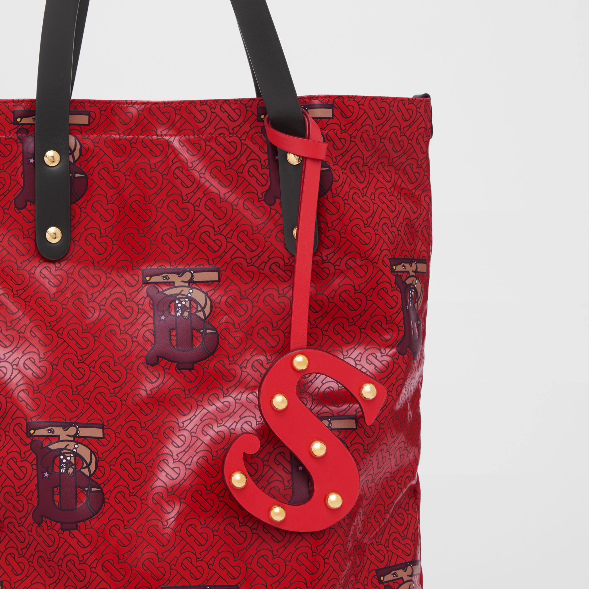 'S' Studded Leather Alphabet Charm in Red/light Gold - Women | Burberry - gallery image 3
