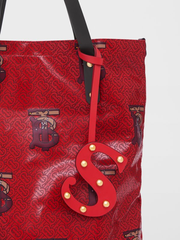 'S' Studded Leather Alphabet Charm in Red/light Gold - Women | Burberry - cell image 3