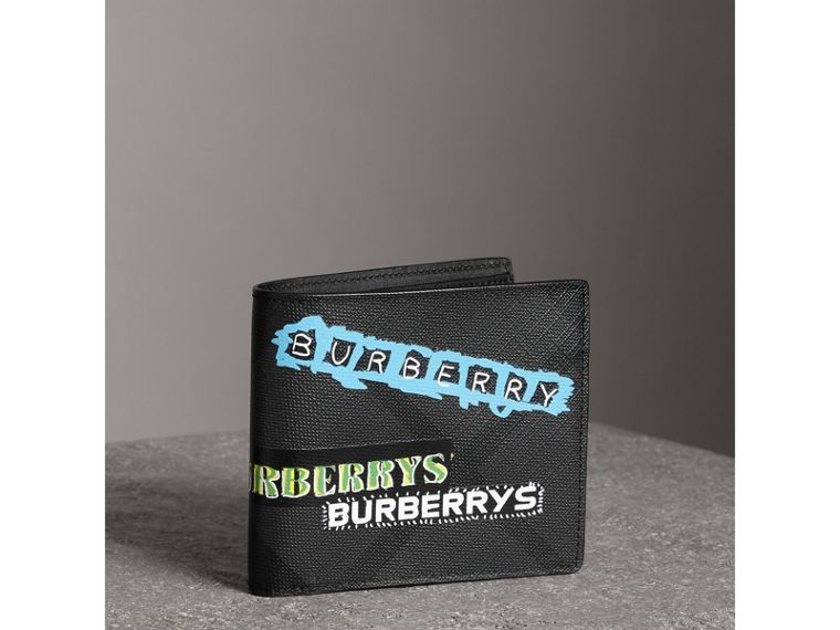 Tag Print London Check International Bifold Wallet in Charcoal - Men | Burberry - cell image 4