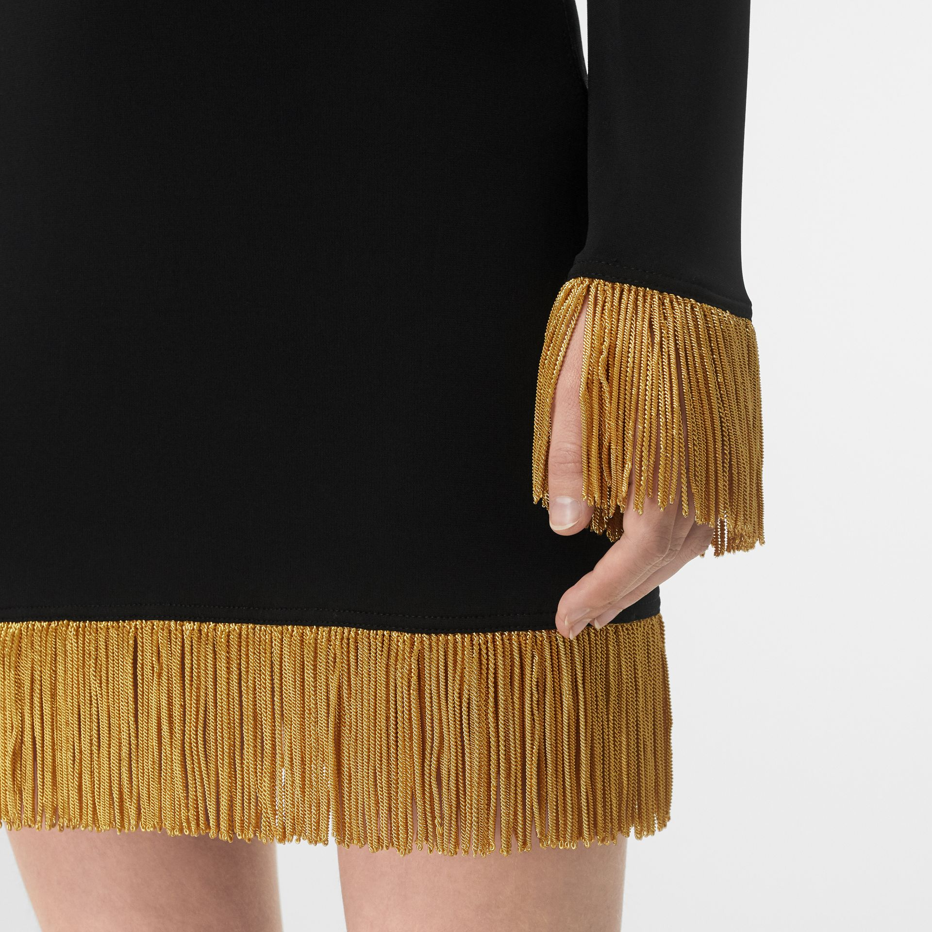 Metallic Fringe Detail Stretch Jersey Dress in Black - Women | Burberry - gallery image 1