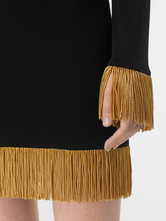 Metallic Fringe Detail Stretch Jersey Dress in Black - Women | Burberry - cell image 1