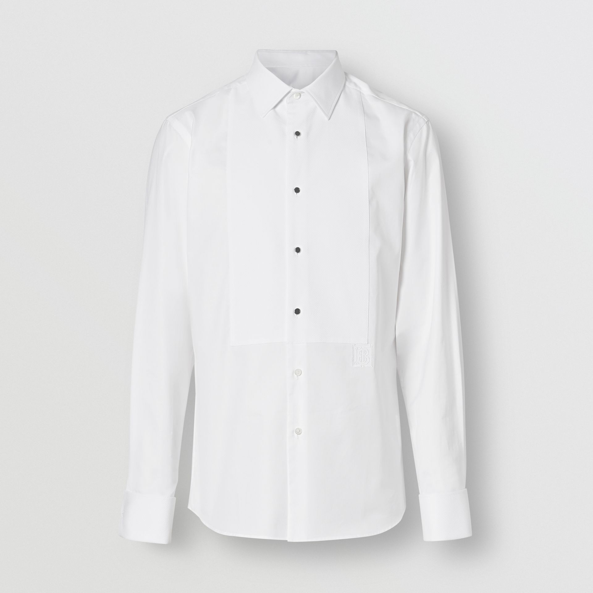 Panelled Bib Cotton Oxford Dress Shirt in White - Men | Burberry - gallery image 3