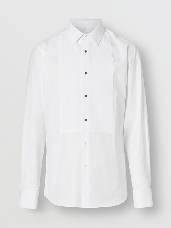 Panelled Bib Cotton Oxford Dress Shirt in White - Men | Burberry Singapore - cell image 3