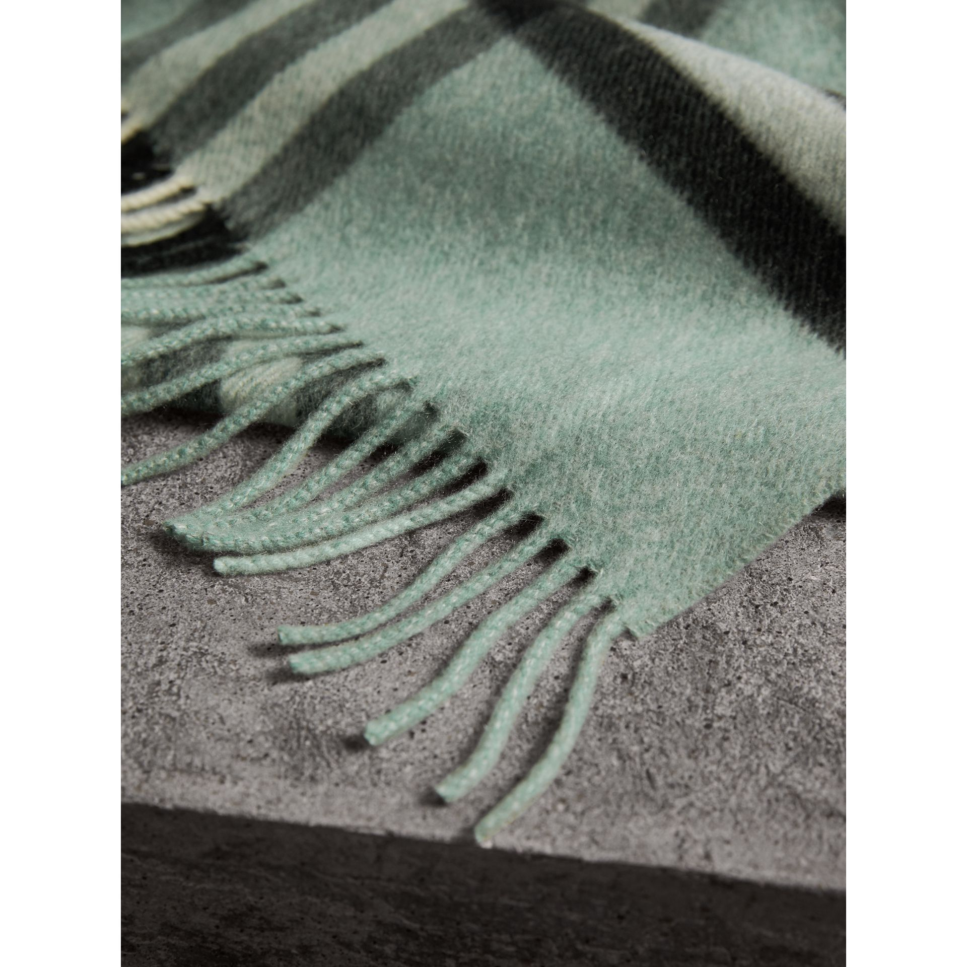The Classic Cashmere Scarf in Check in Dusty Mint | Burberry Singapore - gallery image 5