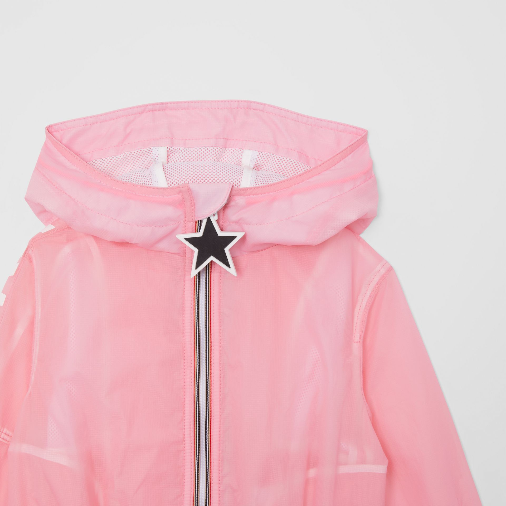 Star Detail Logo Print Lightweight Hooded Jacket in Candy Pink - Children | Burberry United Kingdom - gallery image 4