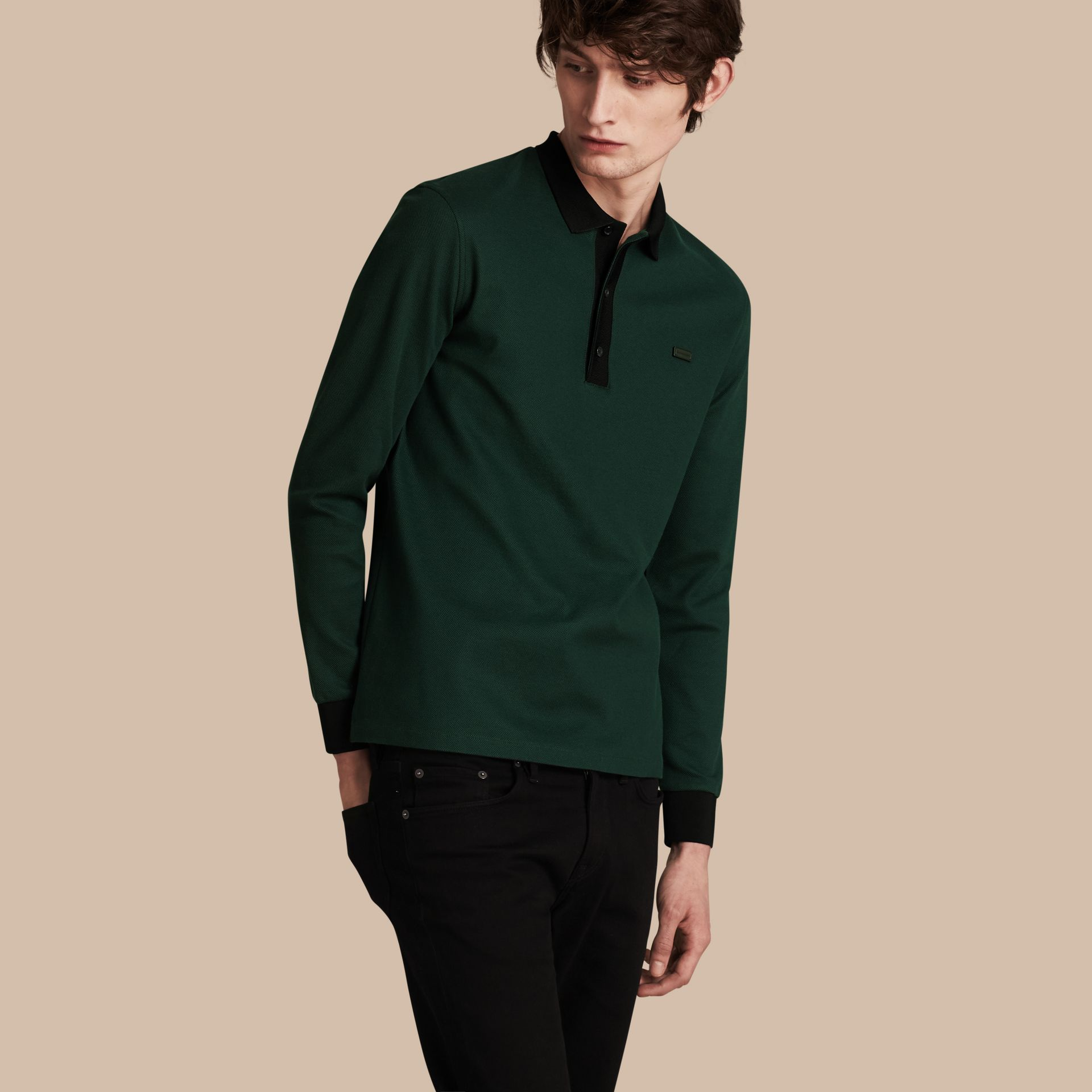 Forest green/black Long-sleeved Cotton Piqué Polo Shirt Forest Green/black - gallery image 1