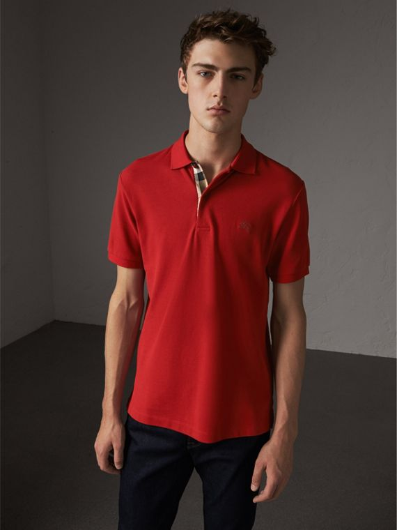 Check Placket Cotton Piqué Polo Shirt in Military Red