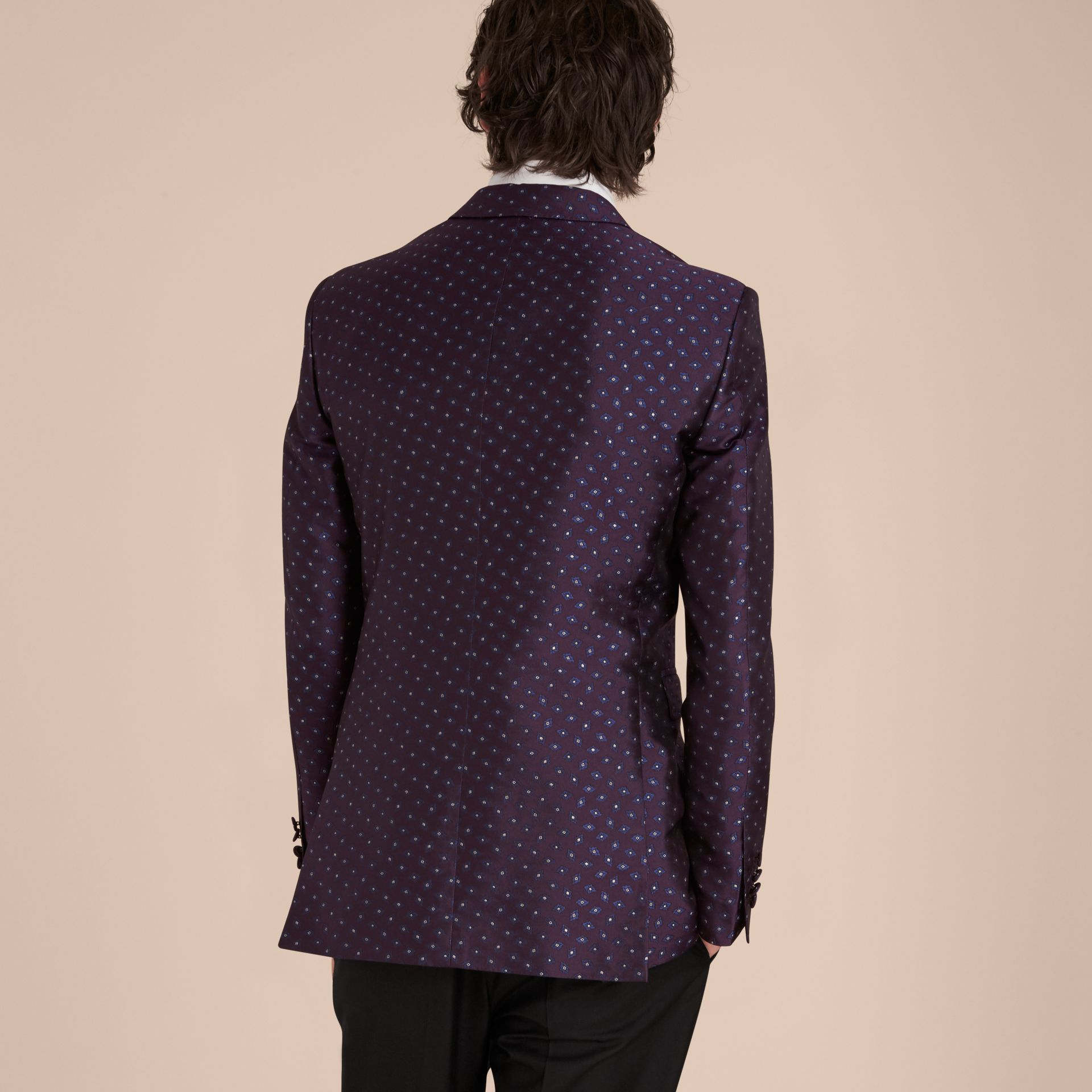 Deep aubergine Slim Fit Geometric Silk Jacquard Tailored Jacket - gallery image 3