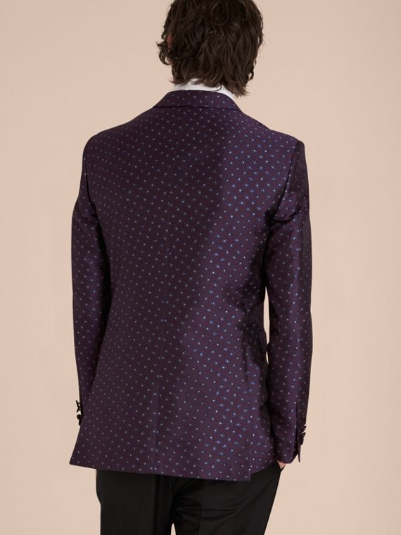 Deep aubergine Slim Fit Geometric Silk Jacquard Tailored Jacket - cell image 2