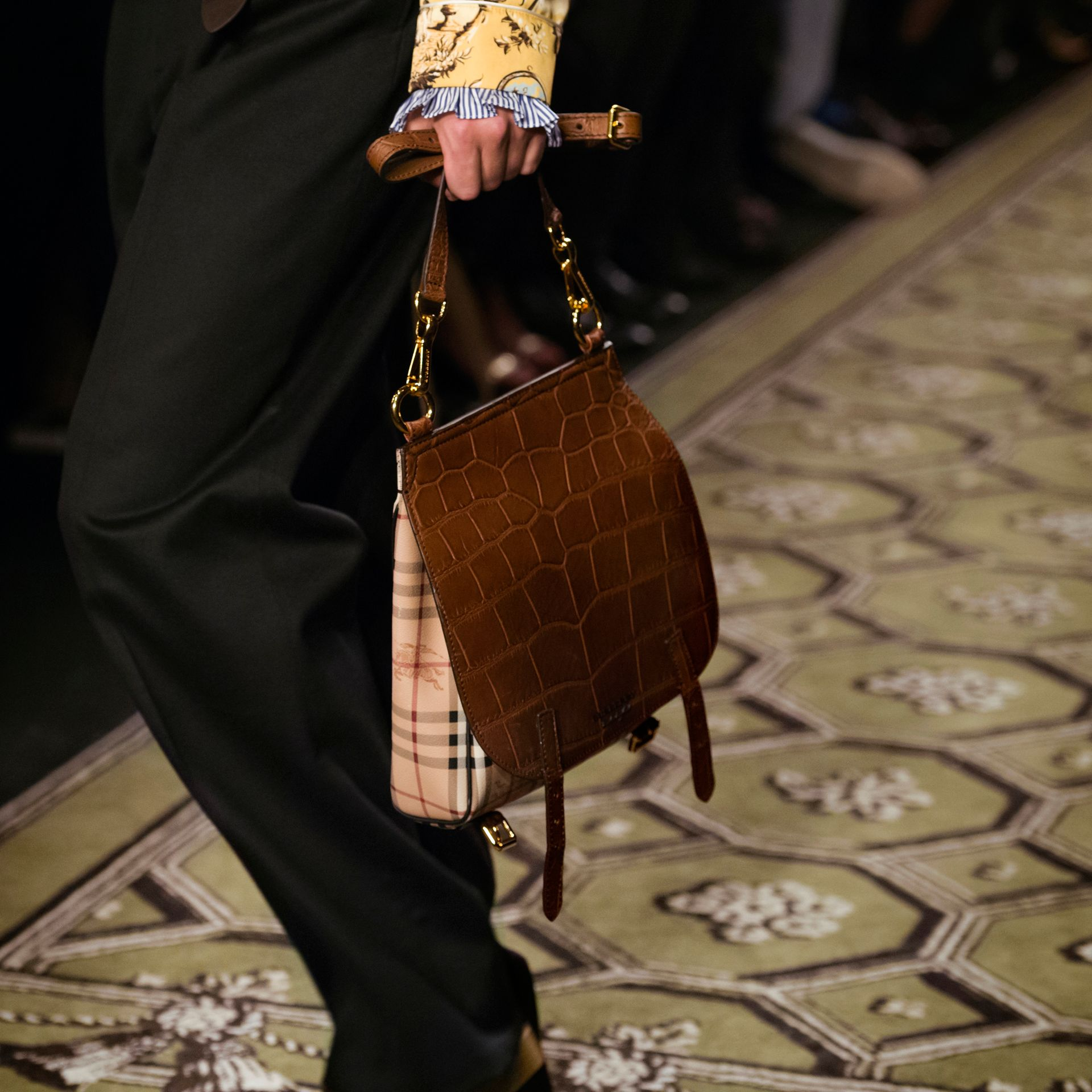The Small Bridle Bag in Alligator and Haymarket Check - gallery image 9