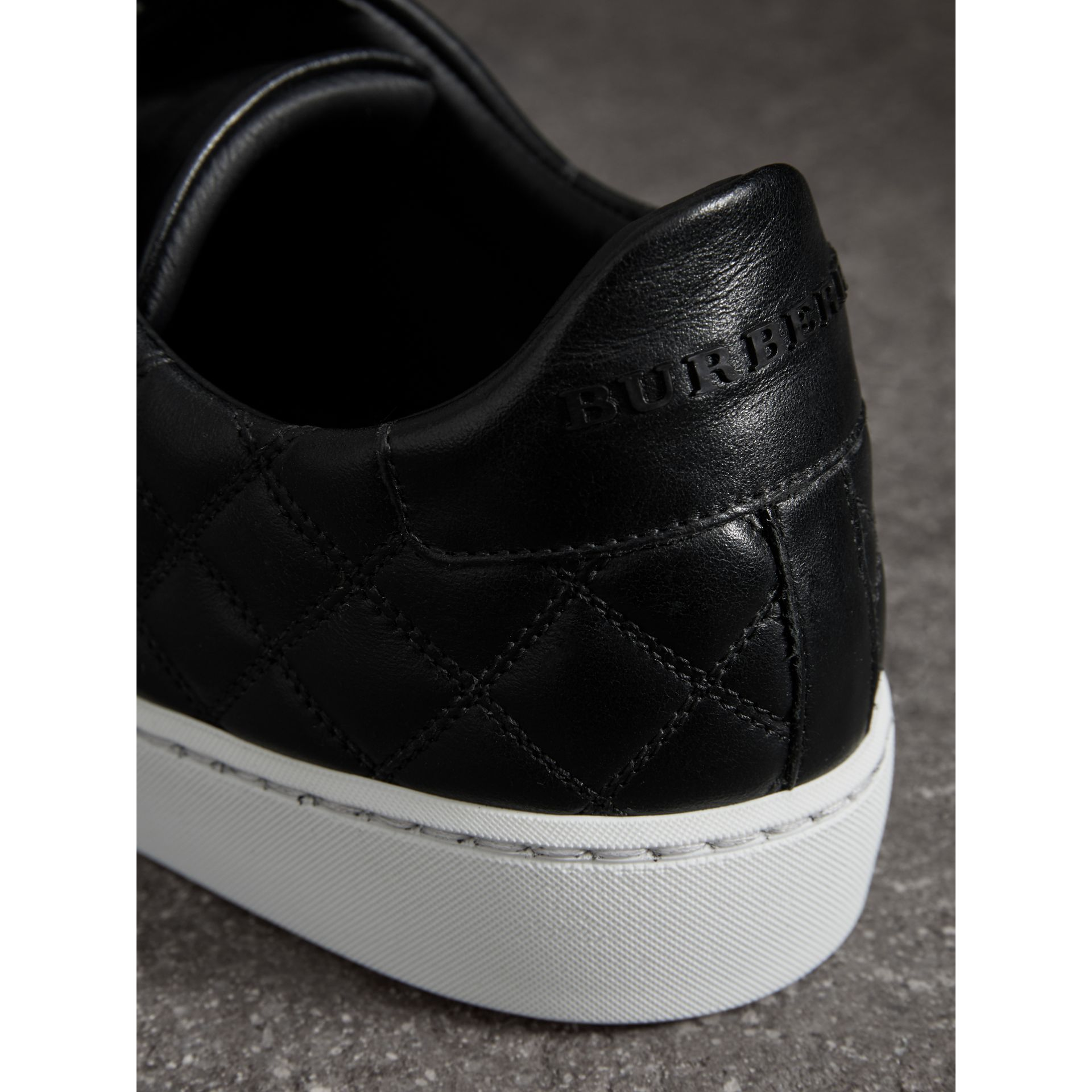 Check-quilted Leather Trainers in Black - Women | Burberry United Kingdom - gallery image 2