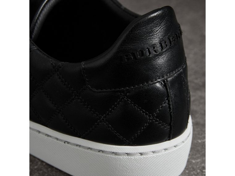 Check-quilted Leather Trainers in Black - Women | Burberry - cell image 1