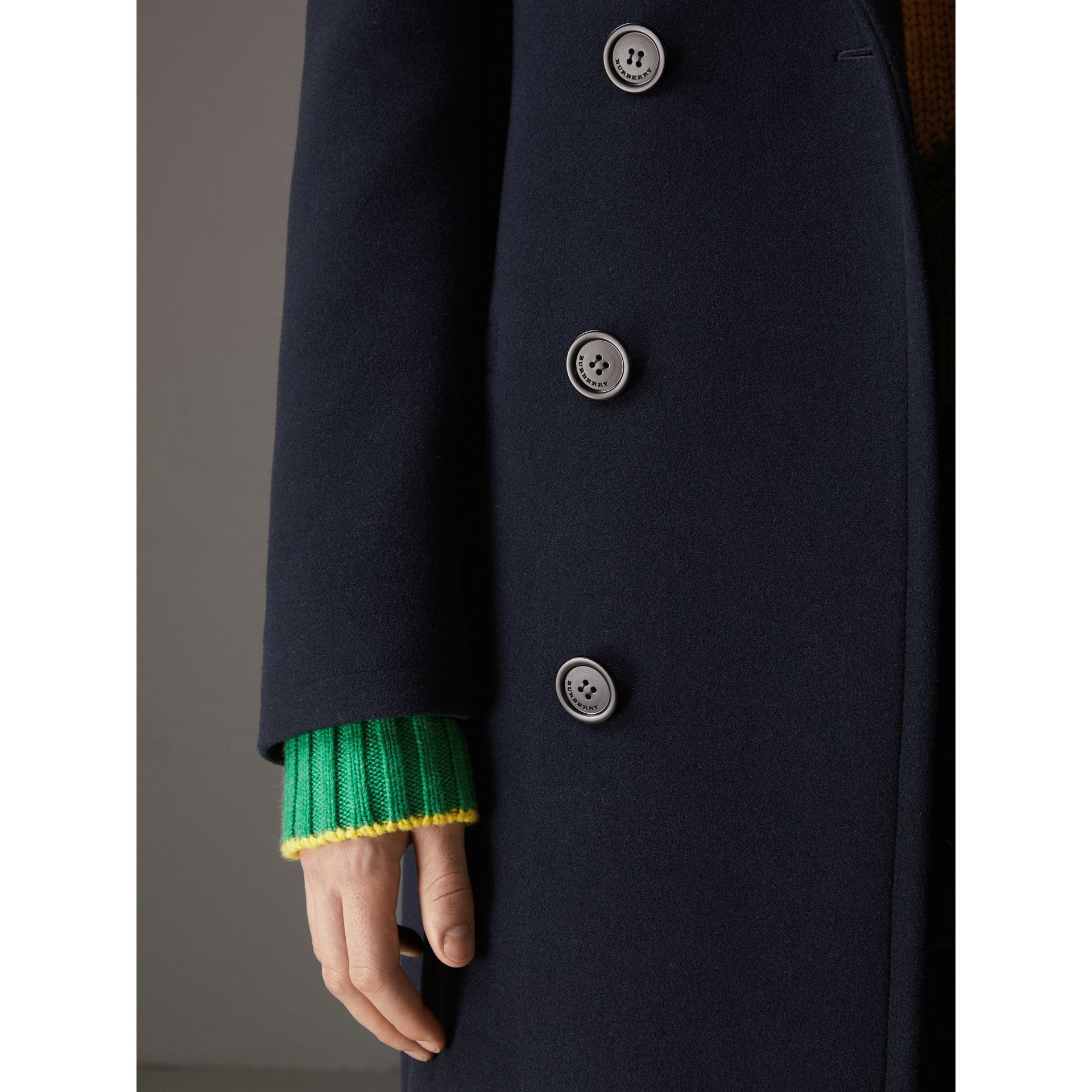 Wool Cashmere Overcoat in Dark Blue | Burberry Australia - gallery image 4