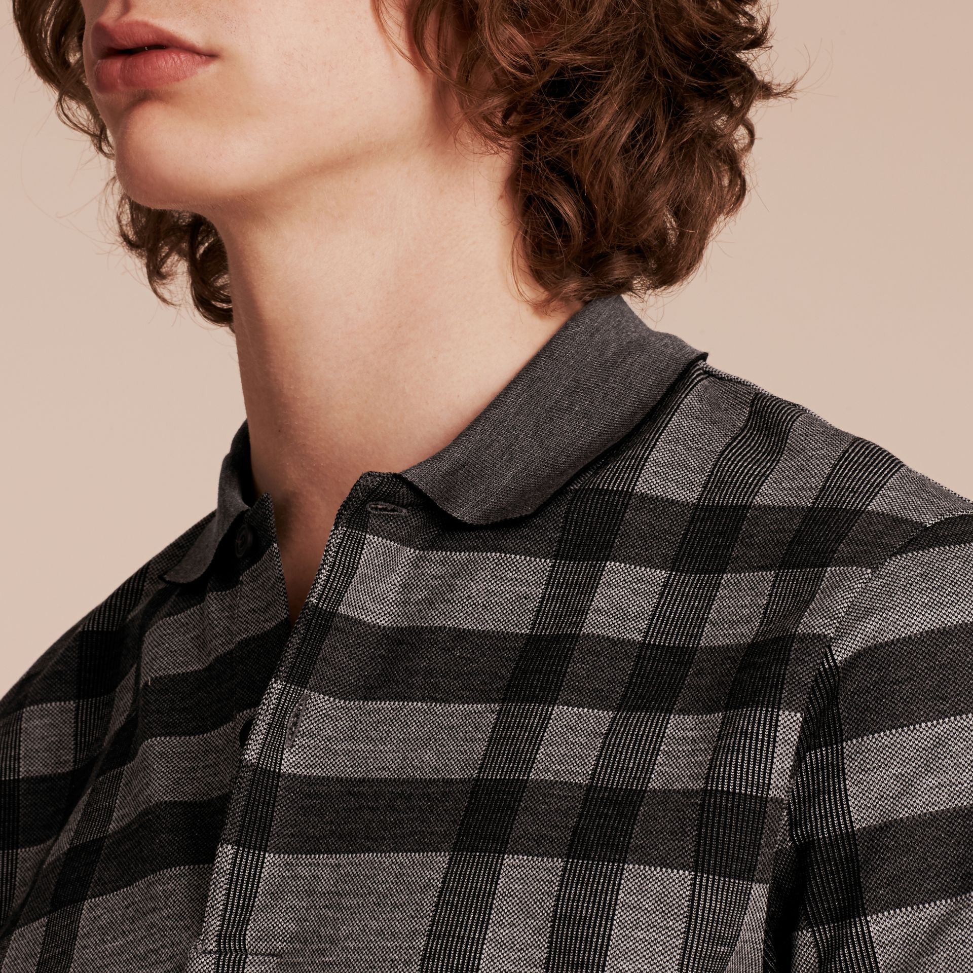 Mid grey Check Stretch Cotton Polo Shirt Mid Grey - gallery image 5