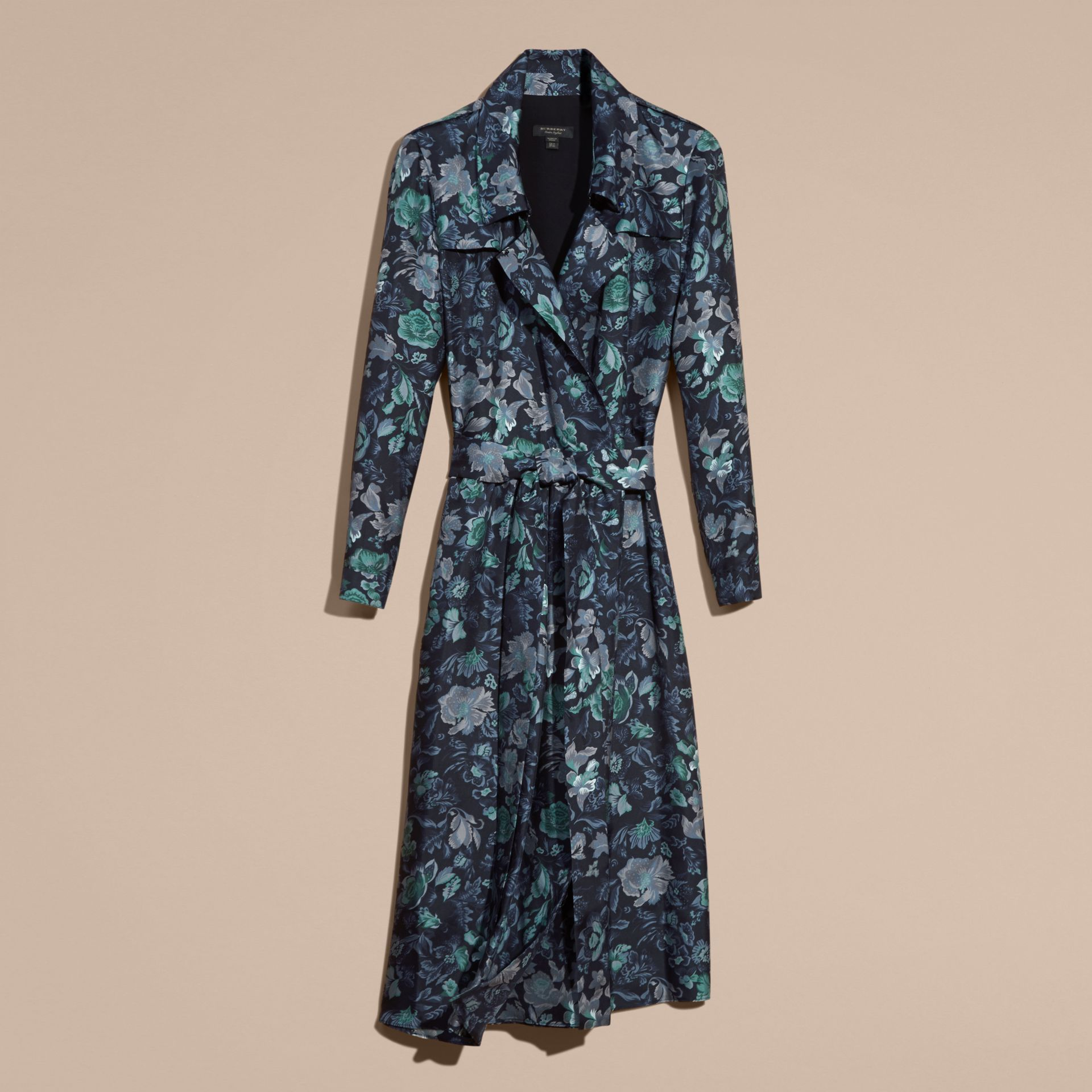 Navy Garden Floral Print Silk Wrap Trench Dress Navy - gallery image 4
