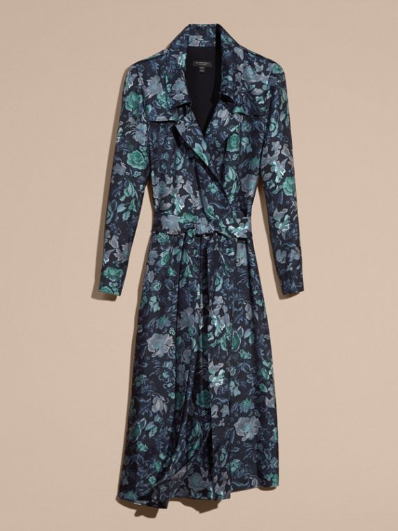 Navy Garden Floral Print Silk Wrap Trench Dress - cell image 3