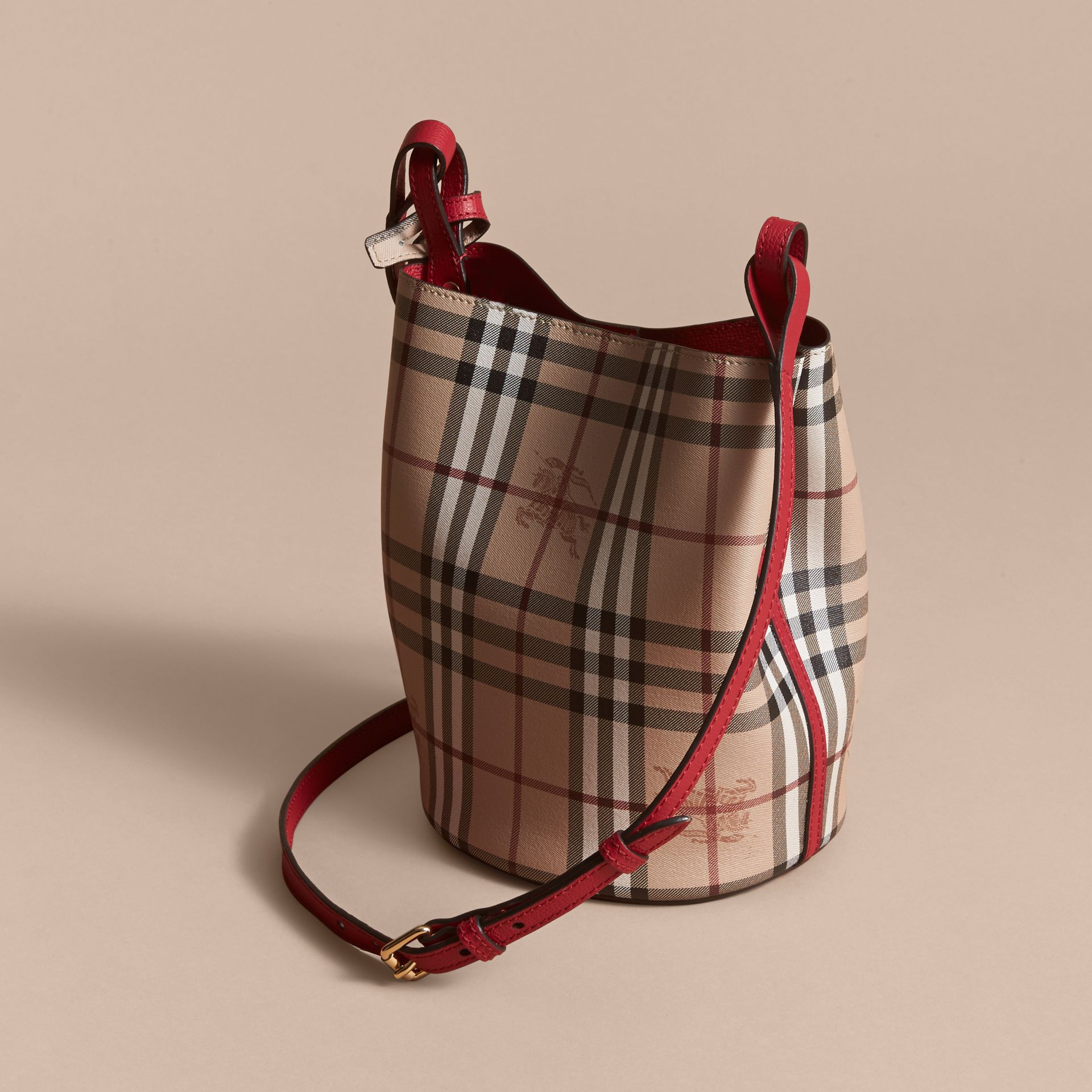 Leather and Haymarket Check Crossbody Bucket Bag in Poppy Red - Women | Burberry - gallery image 3