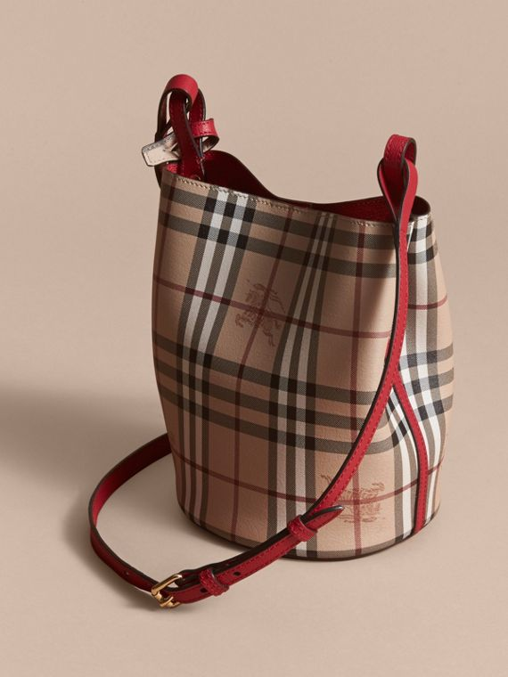Leather and Haymarket Check Crossbody Bucket Bag in Poppy Red - Women | Burberry United Kingdom - cell image 3