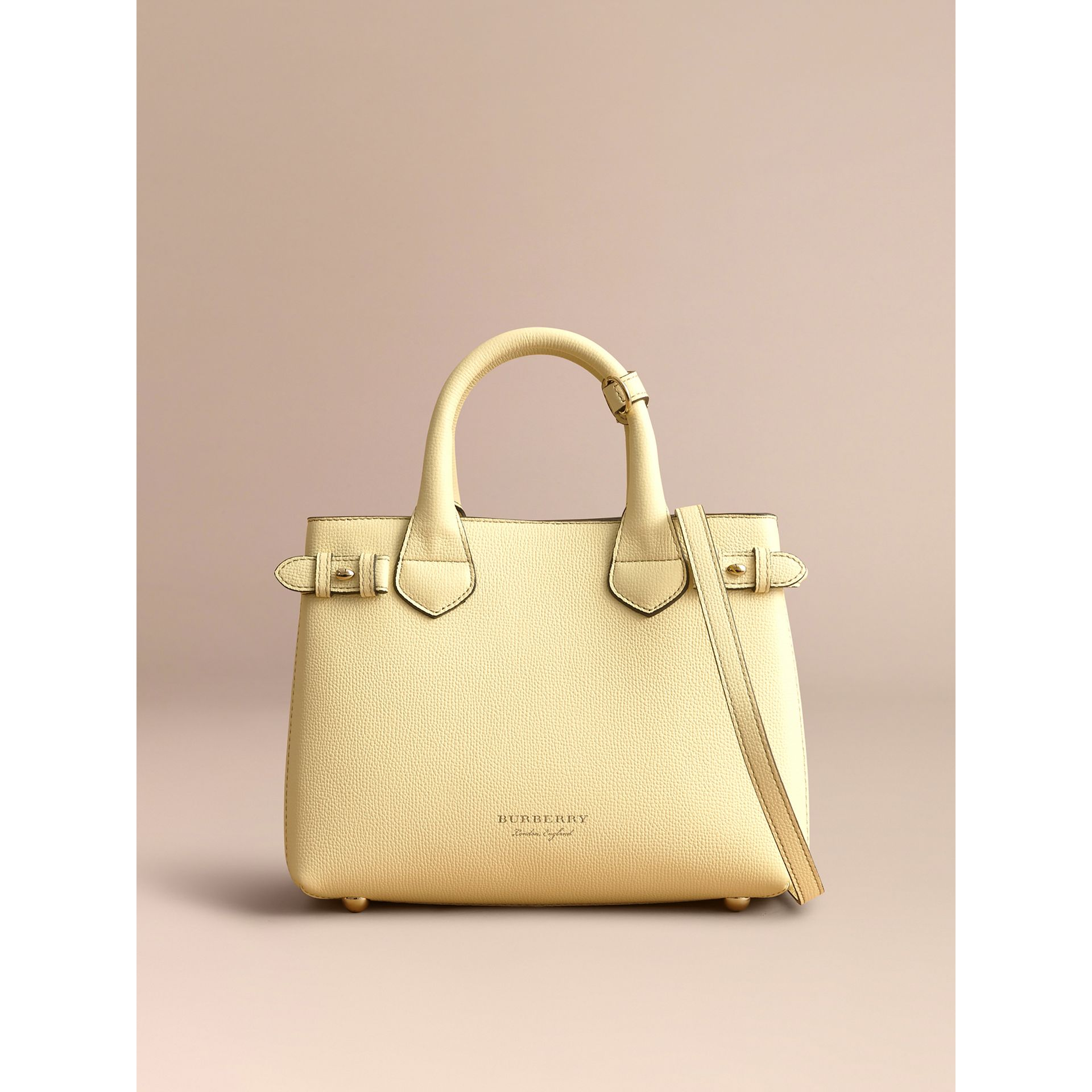 The Small Banner in Leather and House Check in Camomile Yellow - Women | Burberry - gallery image 8