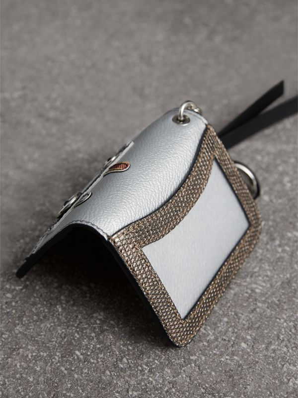 Creature Motif Metallic Leather ID Card Case Charm in Silver/multicolour - Women | Burberry - cell image 2