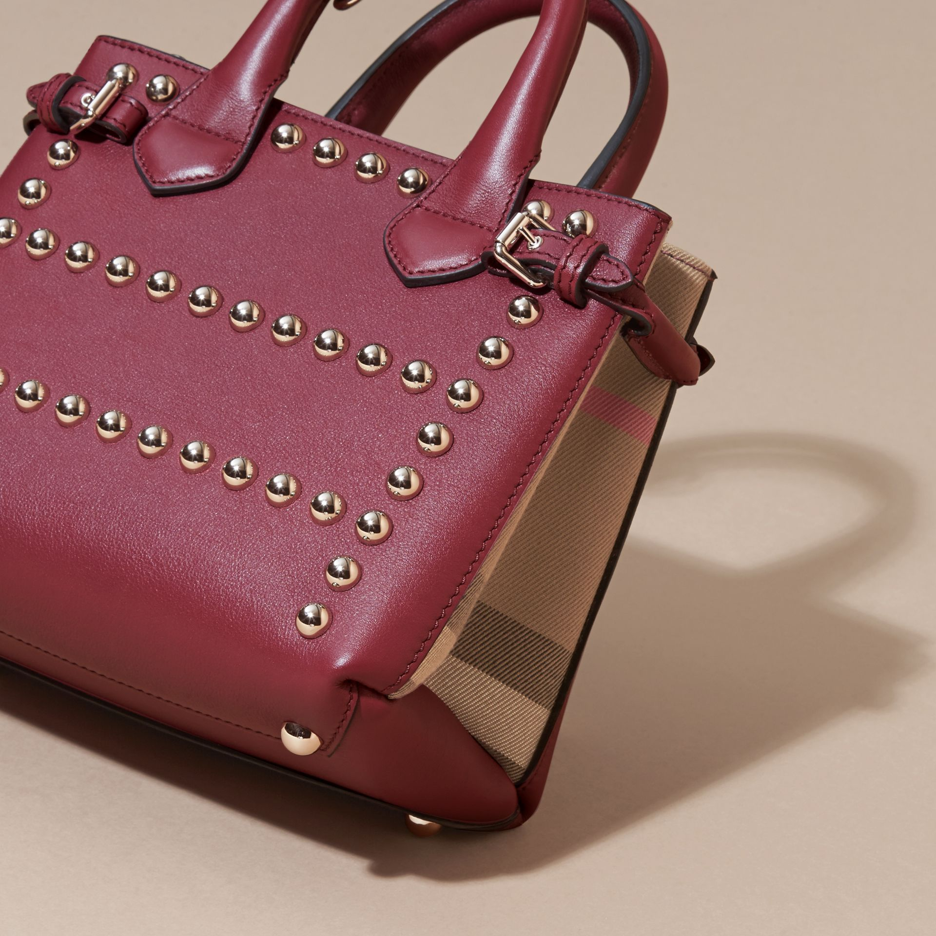 Garnet pink The Baby Banner in Studded Leather and House Check - gallery image 4