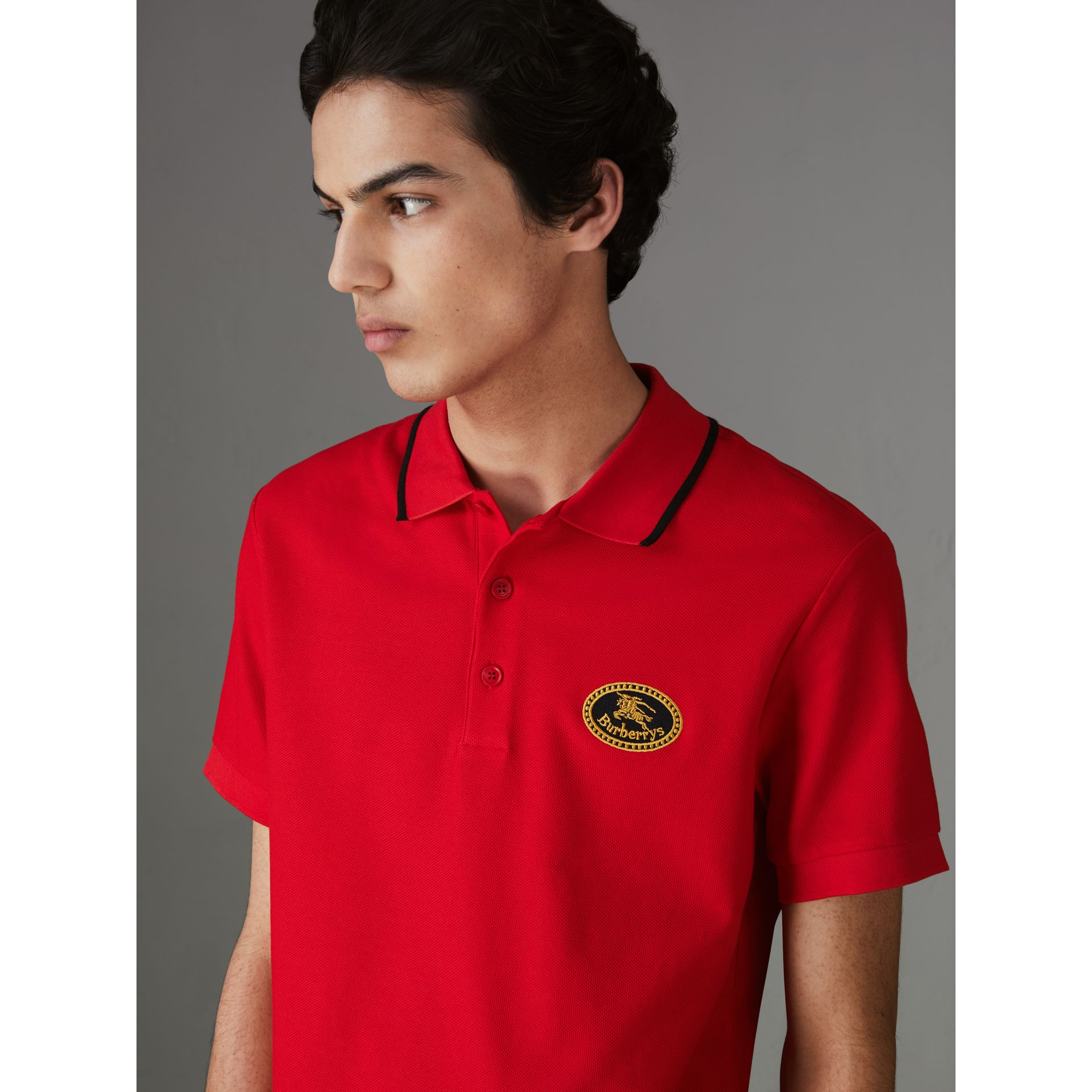 Archive Logo Cotton Piqué Polo Shirt in Military Red - Men | Burberry - gallery image 1