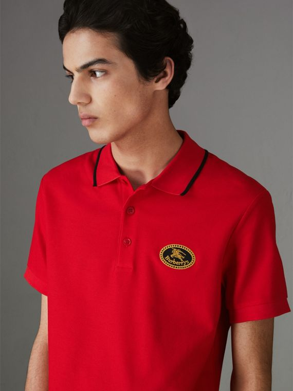 Archive Logo Cotton Piqué Polo Shirt in Military Red