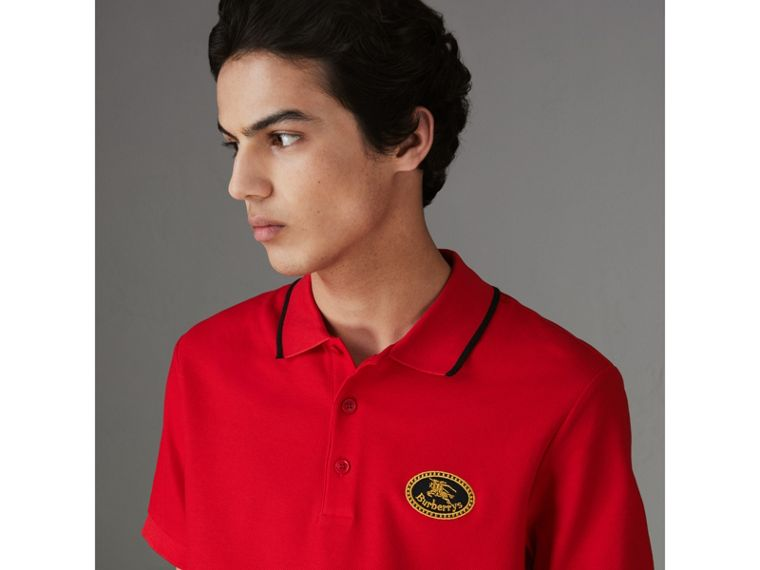 Archive Logo Cotton Piqué Polo Shirt in Military Red - Men | Burberry United Kingdom - cell image 1
