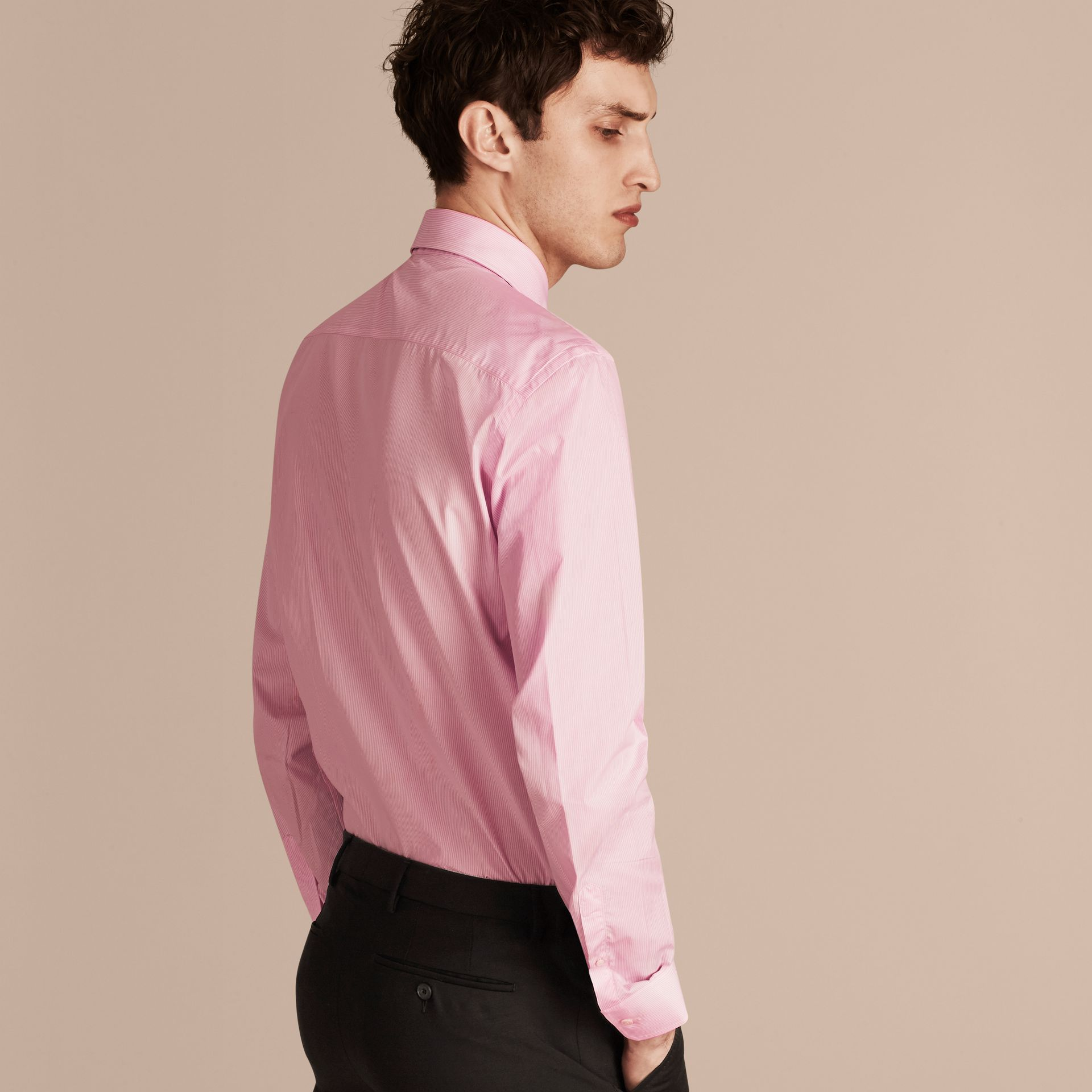 Modern Fit Striped Cotton Poplin Shirt in City Pink - gallery image 3