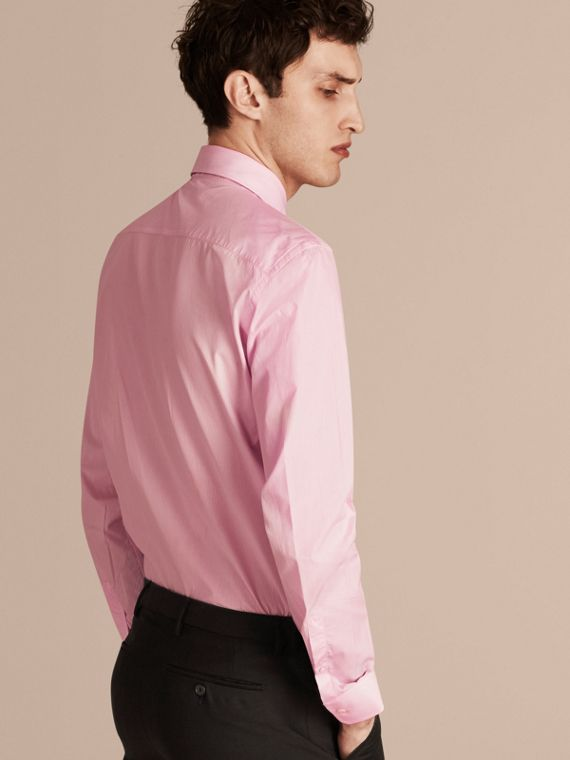 Modern Fit Striped Cotton Poplin Shirt City Pink - cell image 2