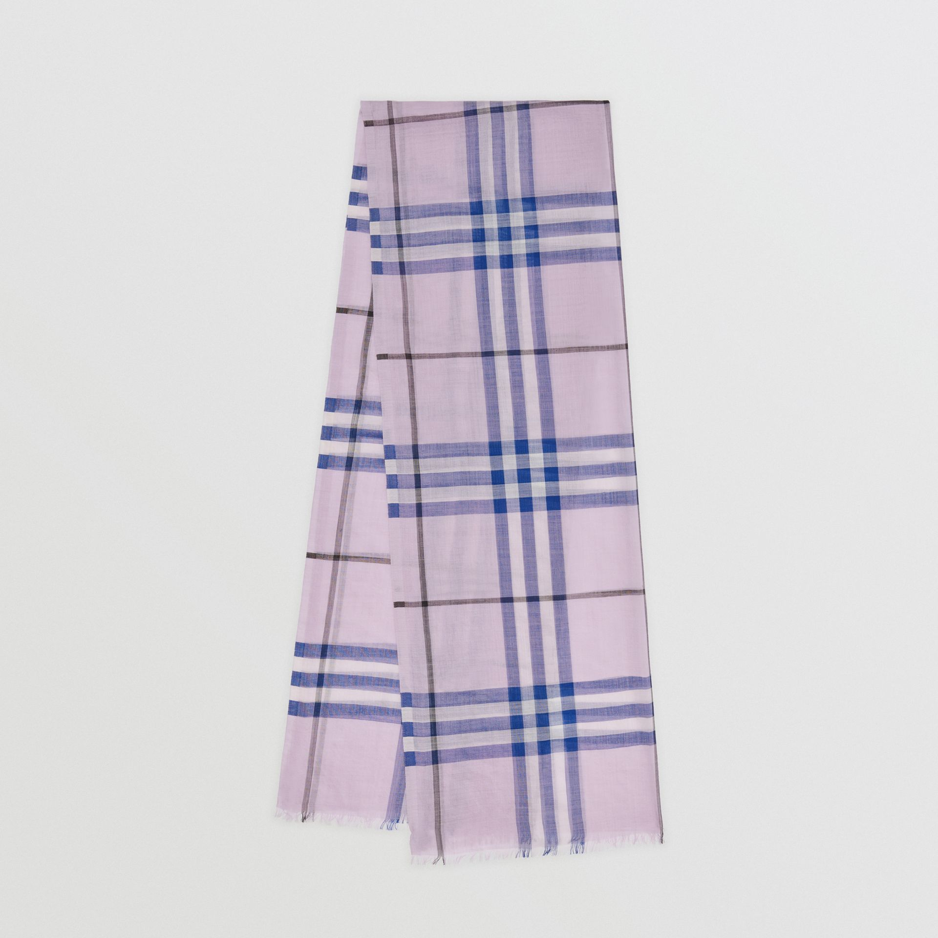 Lightweight Check Wool and Silk Scarf in Pale Orchid | Burberry - gallery image 0