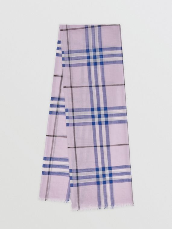 Lightweight Check Wool and Silk Scarf in Pale Orchid