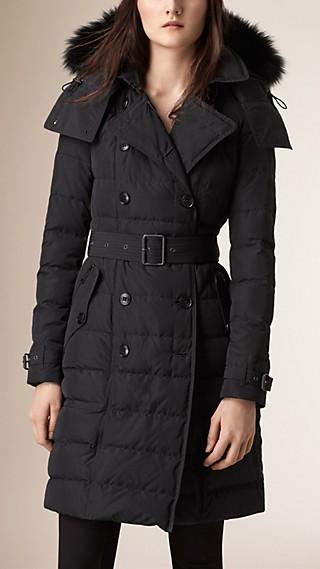Manteau rembourré de duvet avec bordure en fourrure