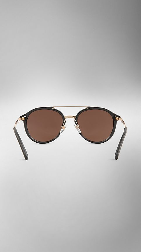 Black Trench Collection Round Frame Sunglasses - Image 3