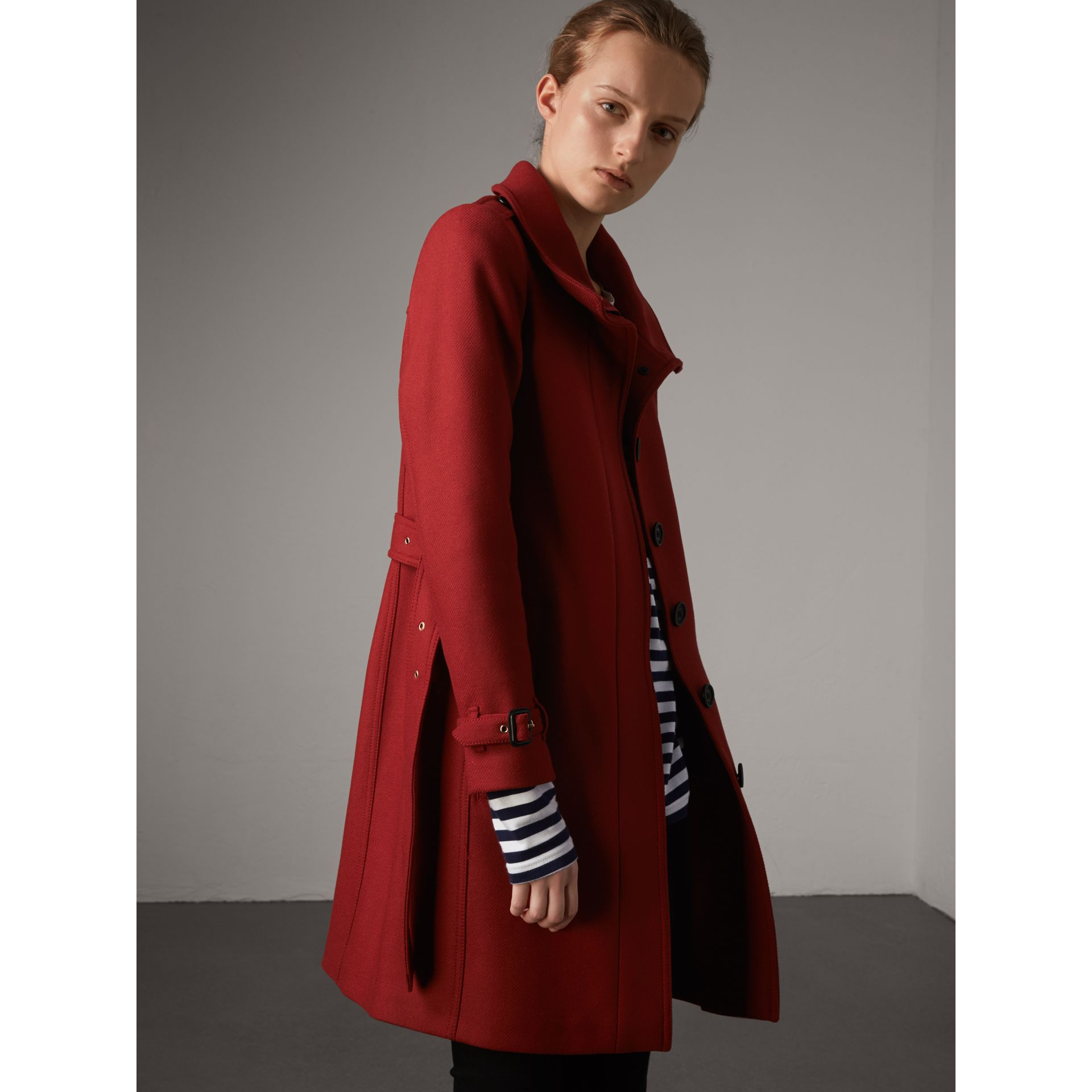 Technical Wool Cashmere Funnel Neck Coat in Damson Red - Women | Burberry - gallery image 6