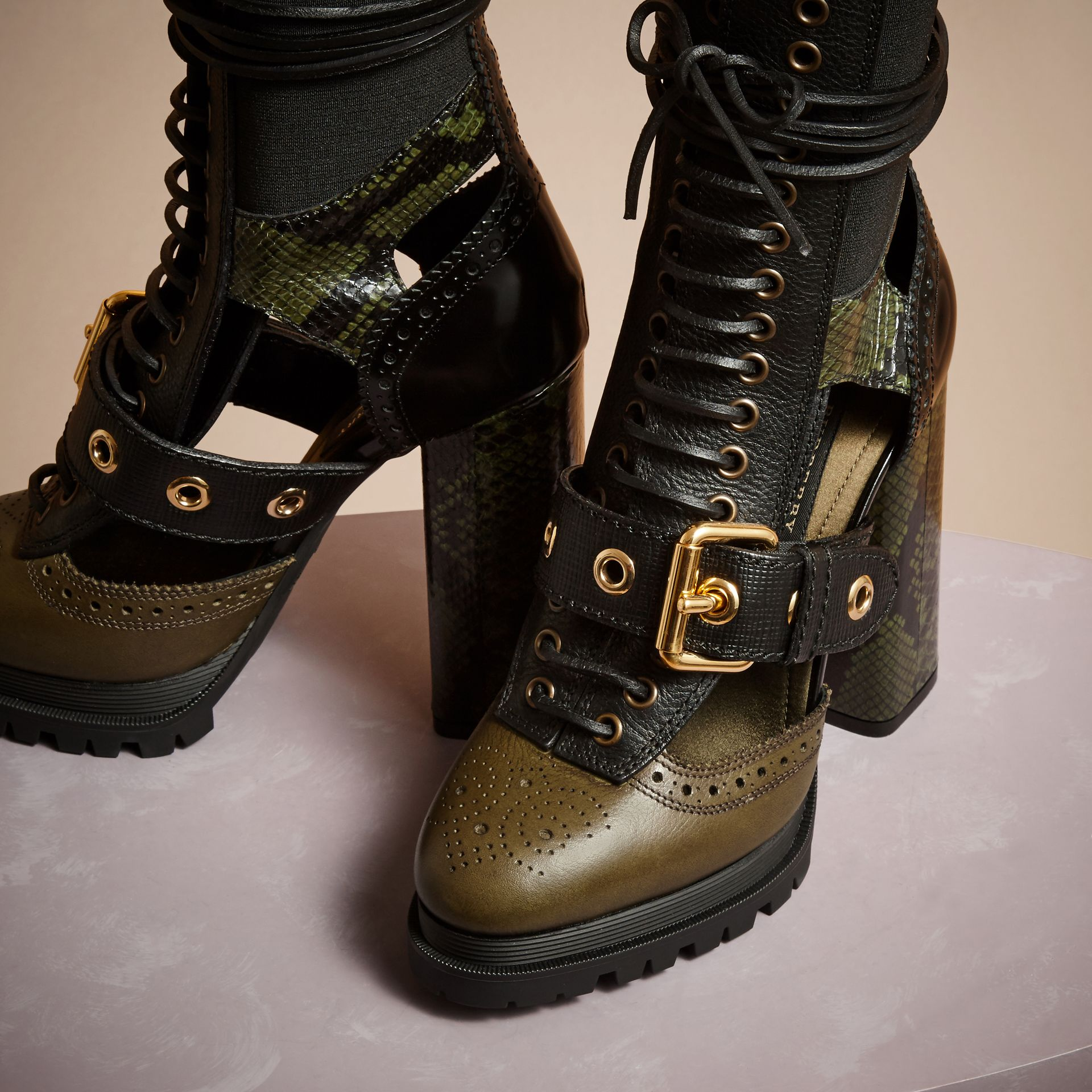 Military olive Leather and Snakeskin Cut-out Platform Boots Military Olive - gallery image 3