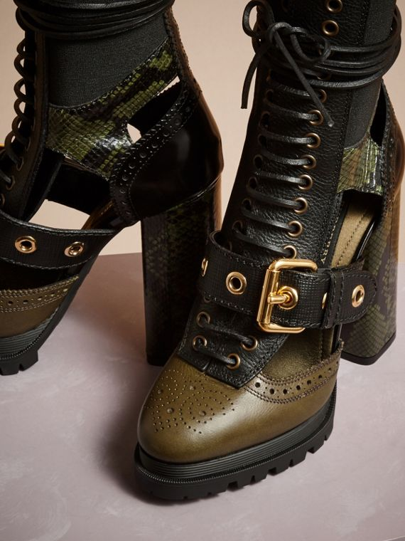 Military olive Leather and Snakeskin Cut-out Platform Boots Military Olive - cell image 2